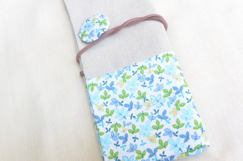 Handmade pencil pouch - blue leaf green leaf