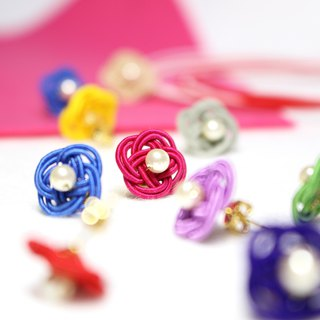 japanese style pierce / earring / mizuhiki / japan / accessory / flower / kawaii
