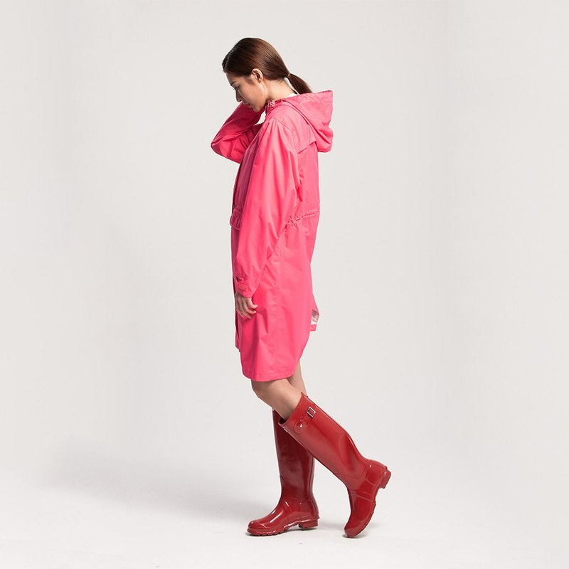 Rainster Women's Drawstring Trench Coat - Coral Red + Expansion Can be stored Extension Shoes Rain Trousers - Personality Black (Discount Group)