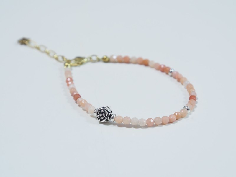 -- la-joie -- Ono Rose Red + Red East Diamond + 925 Sterling Silver Wild Rose /// Natural Stone x Bracelet ///