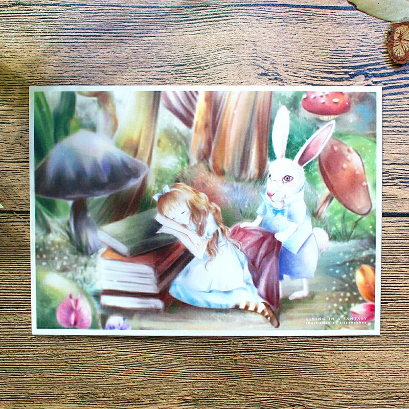 Alice Hobbey - Fantasy Girl Series Alice in Wonderland double-sided illustration postcard