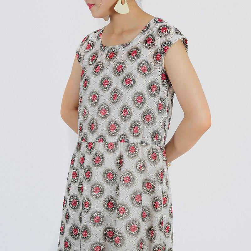 【蛋植物古着】花輪蕾絲印花無袖古著洋裝