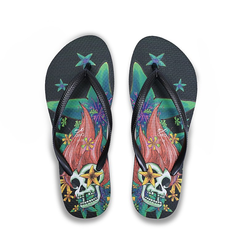 Girls' cultural and creative drawing flip-flops soft Q non-slip wear-resistant flip-flops furious black