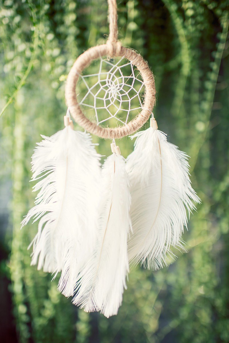 Dream Catcher 8cm - Facing the Mist Forest (primary color hemp rope) - Forest gifts, exchange gifts