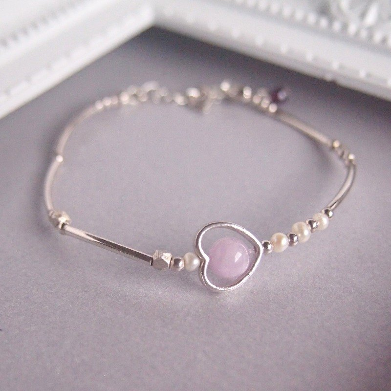 The Word of Venus | Healing Heart Wheel Purple Lithium Pearl Sterling Silver Bracelet