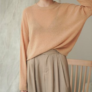 Unexpectedly encountered | Camel texture, micro-transparent inside, wool, shoulder, loose plain, pilling sweater