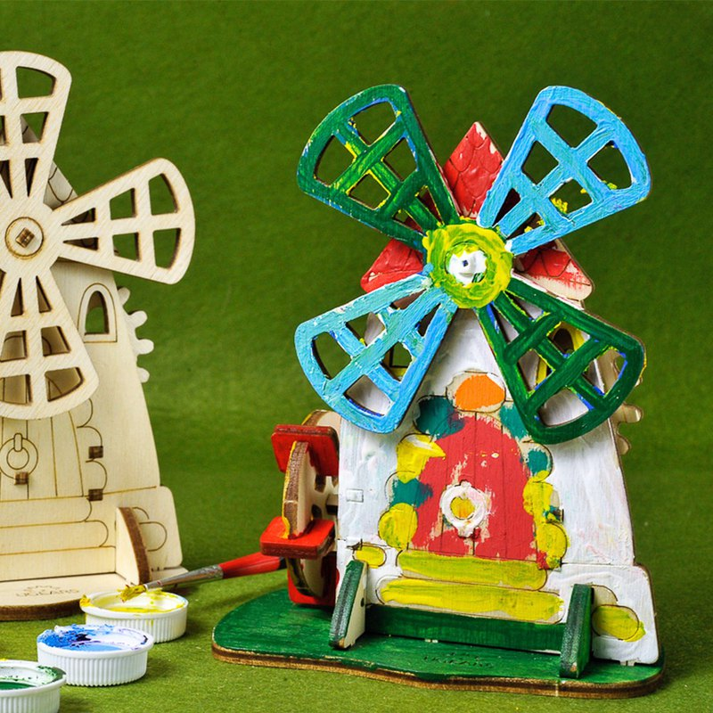 /Ugears/ Ukrainian Wooden Model Coloring Windmill