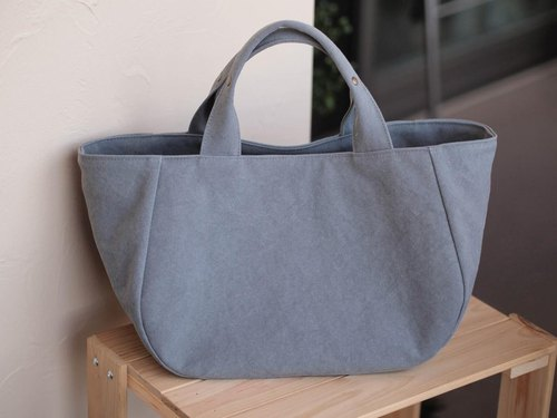 Round tote with lid M (gray)