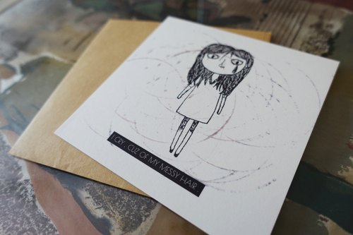 Illustration series card broken pieces series # 4 <I CRY, CUZ MY MESSY HAIR.>