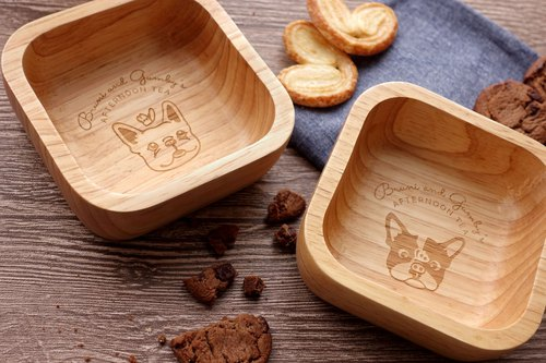 French Bulldog or Boston Terrier Square Wooden Bowl (SMALL) Snack Bowl【Full Set】