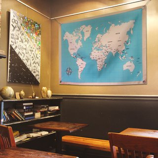 World map cloth hanging valance