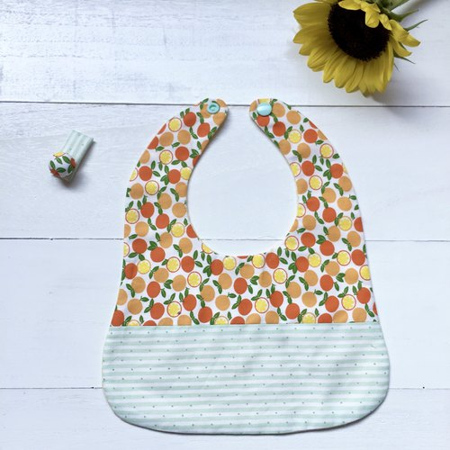Handmade baby bibs saliva towel (with the same hairpin) ~ orange 2 pieces
