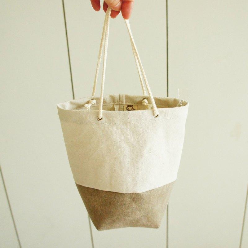 Lovely【石洗帆布】雜貨風雙色水壺袋、米卡其