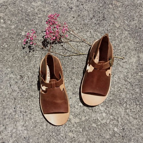 Textured sandals Wenqing afternoon tea party crazy horse skin vegetable tanned leather cowhide shoes handmade shoes coffee