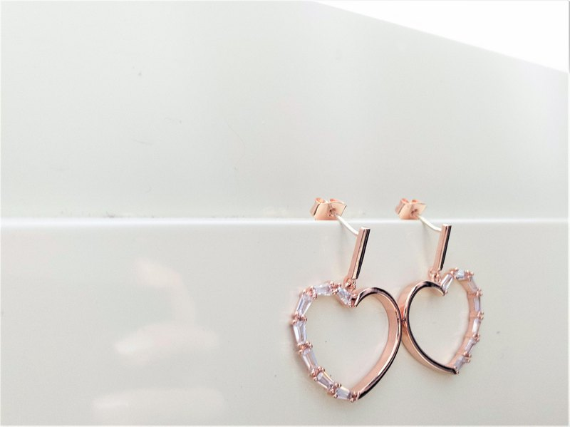 925 sterling silver rose gold zircon inlaid silver pin earrings