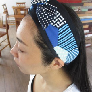 Double hair band (elastic / tied) - dark blue / block
