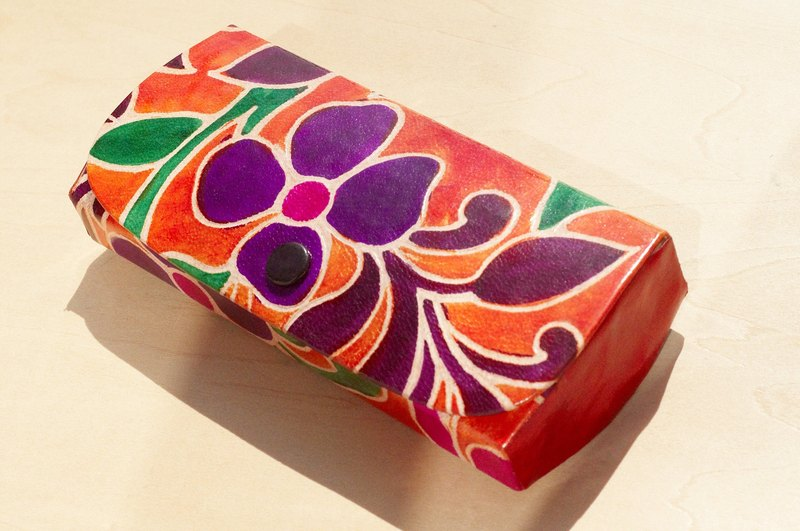 Christmas limited edition glasses case a hand suede / leather style hand-painted glasses bag / Pencil / Pen box - purple flowers forest wind