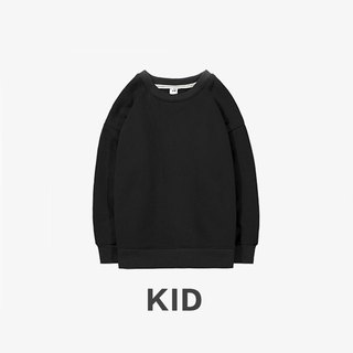 KIDS Long Sleeve Round Collar University T :: Boys and Girls Wearable:: Black