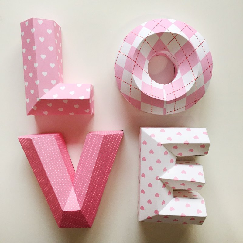 Wedding / wedding props / LOVE / three-dimensional character / small money / pink