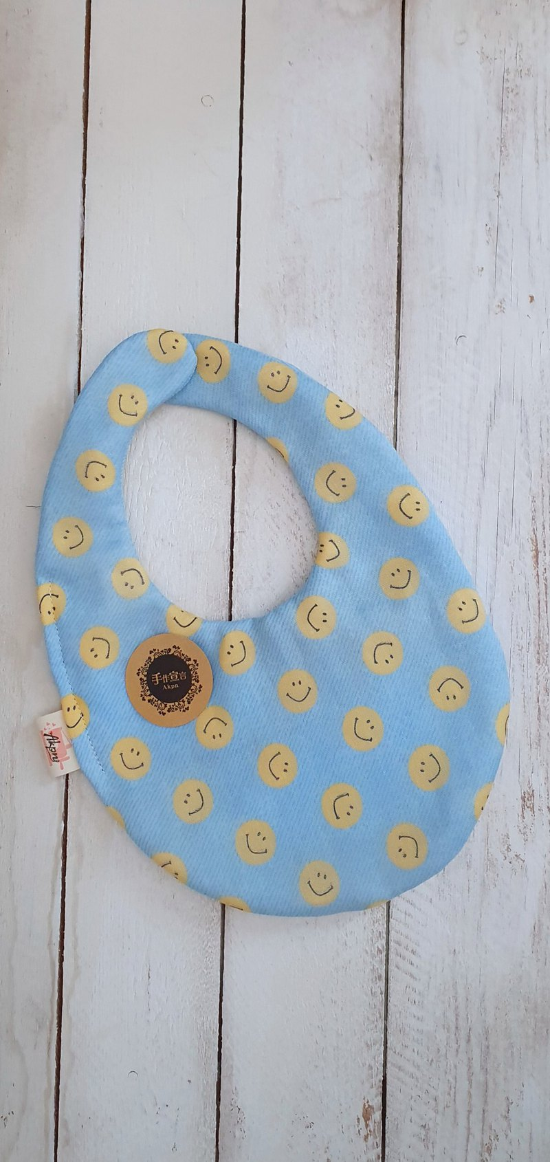 Smiling denim-Yae yarn 100% cotton double-sided egg-shaped bib. Saliva