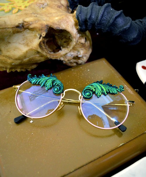 Blue Green Symphony Baroque Carving Gold Wire Glasses High Quality HD Transparent Plastic Lenses