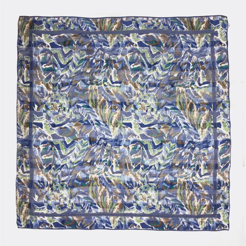 Cross grain perspective full version of blue retro antique scarves BH0031