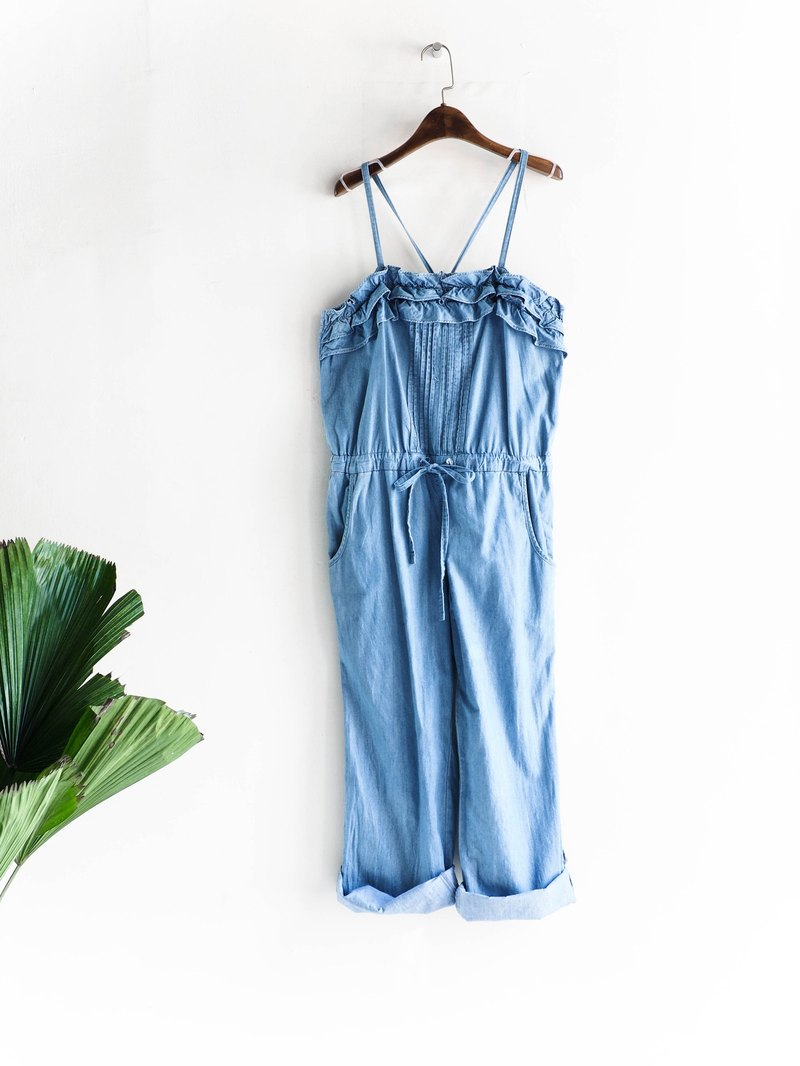 River water - Kumamoto shallow water spray blue girl with tannins harness pants pound neutral Japan overalls oversize vintage