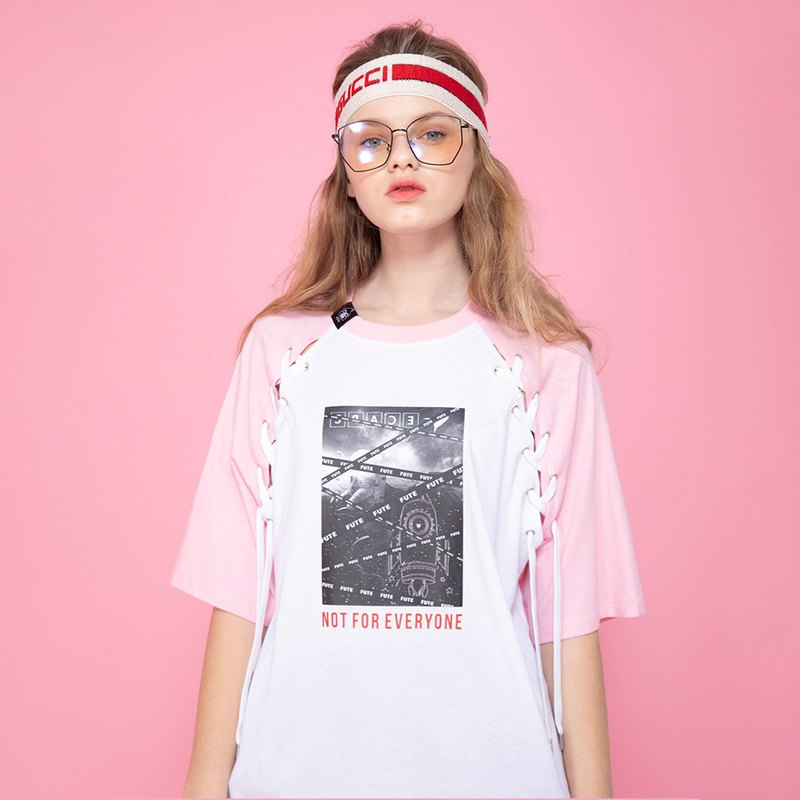 UNISEX LACE-UP HALF-SLEEVED TOPS /  Pink