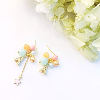 Eiffel Tower Earrings Pastel Pink