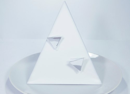 Space age futuristic mirror triangle earrings