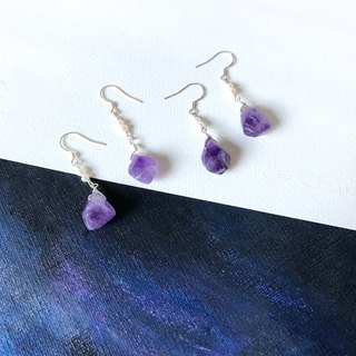 925 Silver Amethyst pearl earrings large irregular temperament Miss Flora | 【Violet Series】