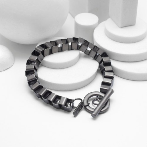Checkered Chain Bracelet (Black Silver)