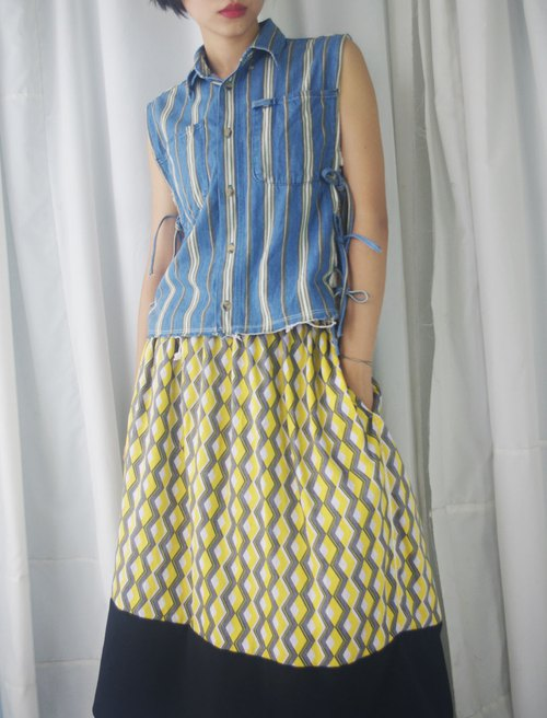 Restyle - Vintage Renovation - Striped Denim Shirt Side Strap