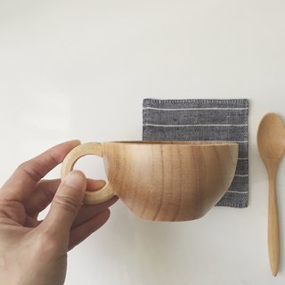 Wooden Coffee Cup + Linen Coaster (Blue stripe) Gift