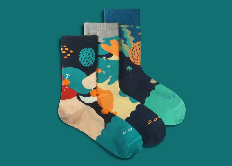 Dear, Buncho Gift Box 3p02 Socks Men's Socks Women's Socks Color Socks Geometric Pattern Designer Socks