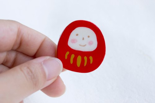 Hand made Japanese light clay Dharma tumbler pin brooch accessories