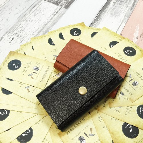 [Double sandwich business card holder] Handmade leather imported Italian leather bag customized