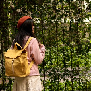 Canvas backpack , leather school backpack - Tanya in Mustard Yellow (no.102)