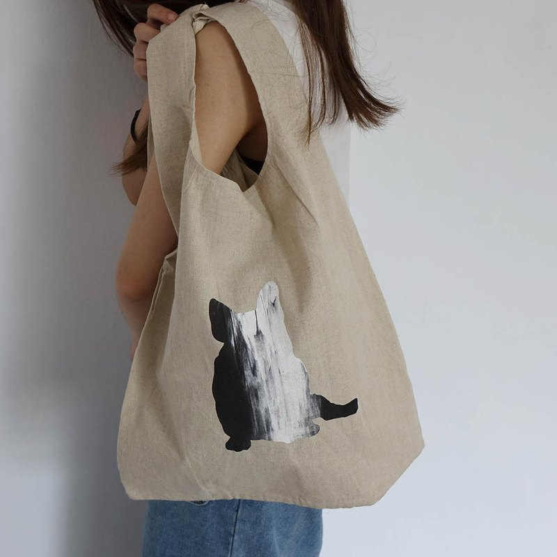 Hand brush smudged cotton vest bag