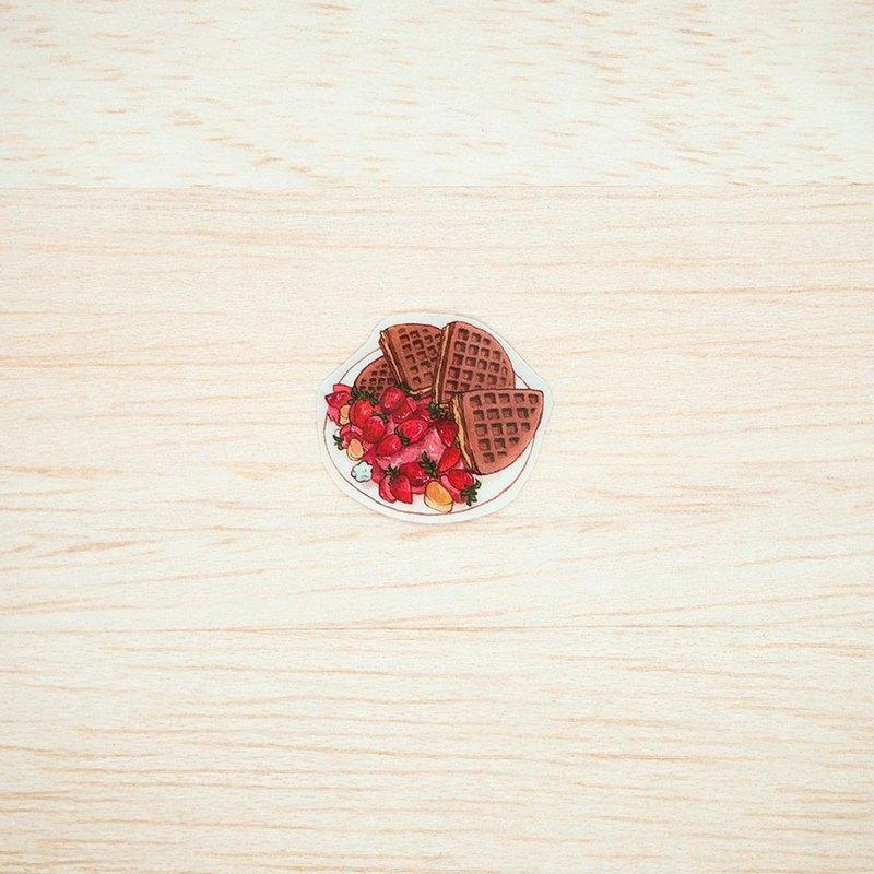 【透明貼紙-14-草莓冰淇淋鬆餅】-水彩/文青/美食/手帳/料理