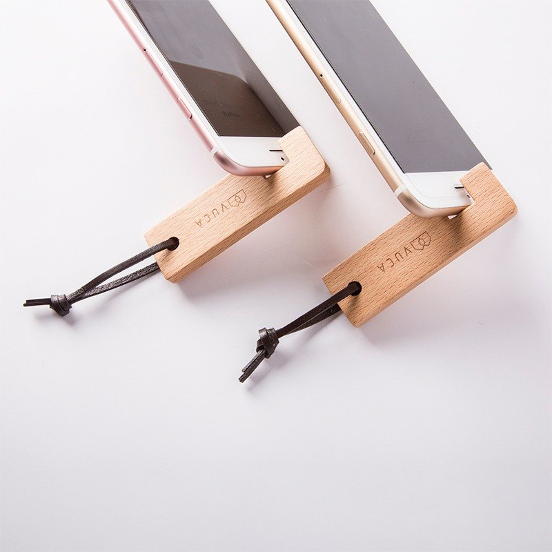 [Valentine's Day gift] portable wood mobile phone holder (two in) - [VUCA-Design] plus purchase lettering