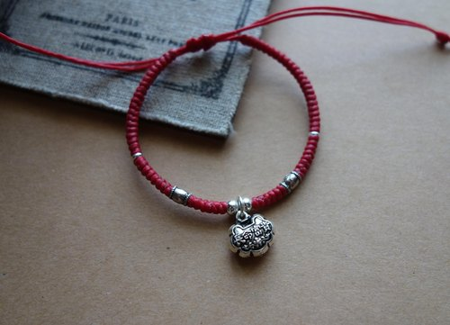~Mi + Bear - Long Life Rich Chinese Traditional Child Bracelet 925 Sterling Silver Silk Wax Weaving Bracelet Fine Bracelet / 925 silver bracelet