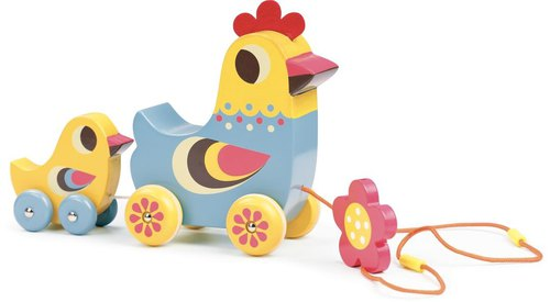 Musical pull along toy hen and chick (Brand:Vilac)