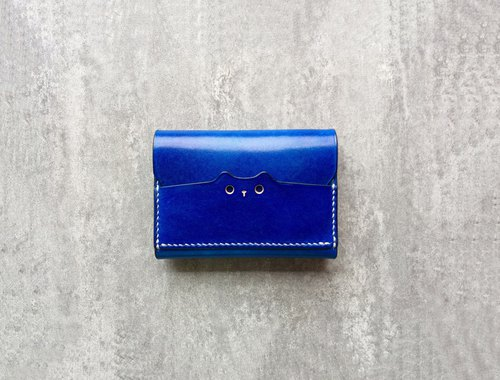 Blue leather card wallet / business card case / gift for cat lovers