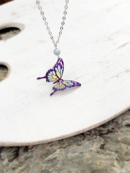 * Haku‧Neko * Purple pattern Blue x Yellow Hand Painted Swallowtail Butterfly Crystal Bead Necklace