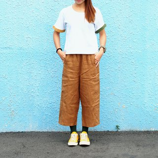Maverick Village handmade cotton and linen retro low pants nine pants [loess large pocket] C-09 limited edition
