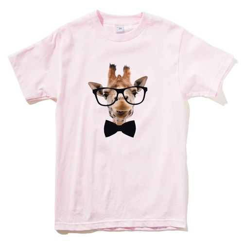 Giraffe-Bow Tie Men's Short Sleeve T-Shirt Light Pink Giraffe Tie Glasses Beard Animals Wenqing Art Design Trendy Text Fashion