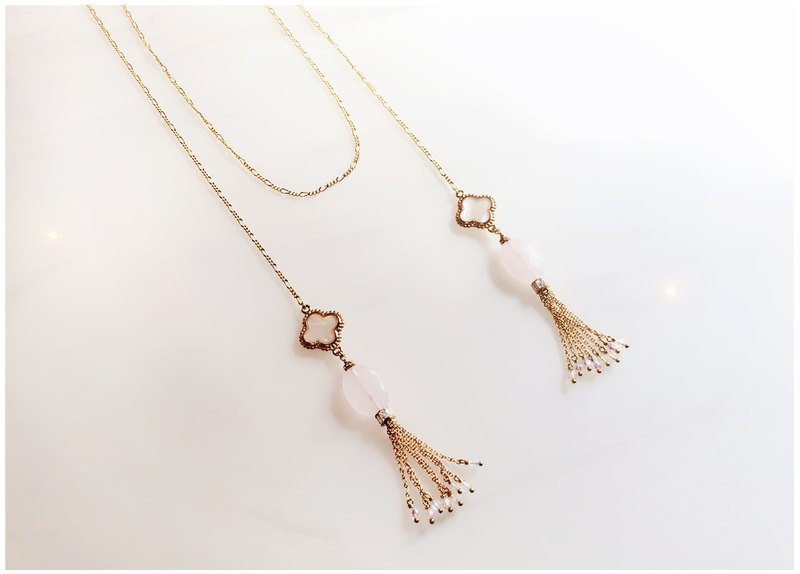 ∴Minertés = mother of pearl curd grass powder ‧ gold plated gold tassel necklace ∴