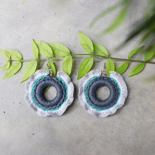 Red Cheeks Earrings Vibrant Style - Mint-Gray Color | Cute | Sweet | Hot | <pierced or clip-on earrings>