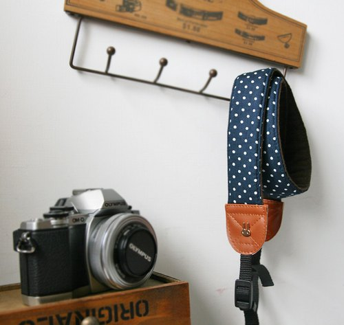 Hand-made decompression camera strap camera rope camera strap (dark blue white midpoint) S34